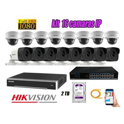 Camara de Seguridad Ip Full HD 1080P Kit 16 Disco 2TB WD Purpura