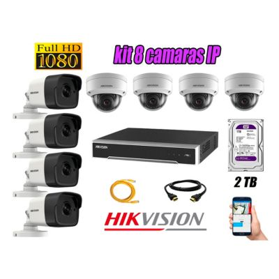 Camara de Seguridad Ip Poe Full HD 1080P Kit 8 Disco 2TB WD Purpura