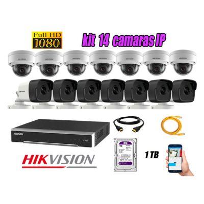 Camara de Seguridad Ip Poe Full HD 1080P Kit 14 Disco 1TB WD Purpura P2P