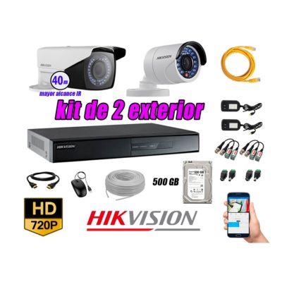 Cámaras de Seguridad Exterior Varifocal Kit 2 HD 720P + Disco 500GB P2P KIT02-HD-V2-F208