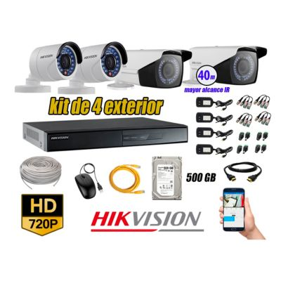 Cámaras de Seguridad Exterior Varifocal Kit 4 HD 720P + Disco 500GB P2P