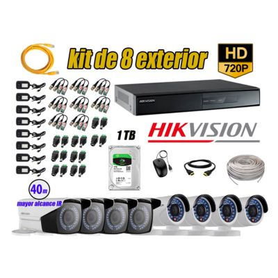 Cámaras de Seguridad Exterior Varifocal Kit 8 HD 720P + Disco 1TB WD CCTV P2P KIT08-HD-V2-F221