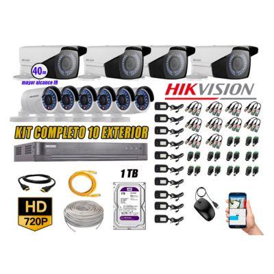 Cámaras de Seguridad Exterior Varifocal Kit 10 HD 720P + Disco 1TB WD CCTV P2P KIT10-HD-V2-F223