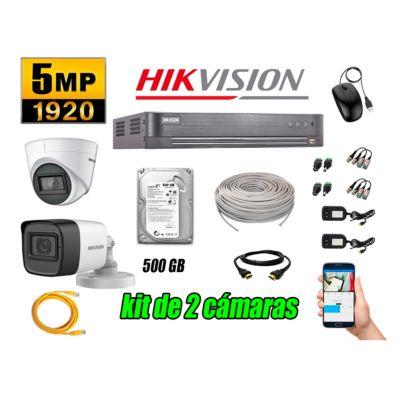 Cámaras de Seguridad Kit 2 5MP + Disco 500GB CCTV Completo