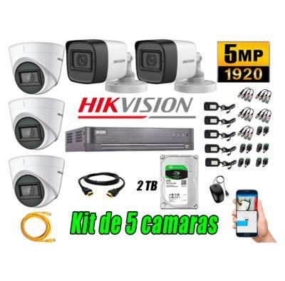 Cámaras de Seguridad Kit 5 5MP + Disco 2TB CCTV P2P