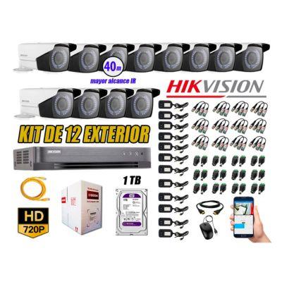 Cámaras de Seguridad Exterior Varifocal Kit 12 HD 720P + Disco 1TB WD CCTV P2P