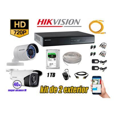 Cámaras de Seguridad Exterior It3F Kit 2 HD 720P + Disco 1TB WD CCTV KIT02-HD-I2-F186
