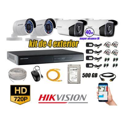 Cámaras de Seguridad Exterior It3F Kit 4 HD 720P + Disco 500GB P2P KIT04-HD-I2-F189
