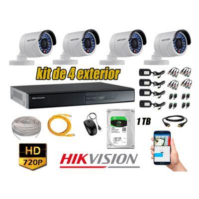 Cámaras de Seguridad Exterior Kit 4 HD 720P + Disco 1TB WD CCTV P2P