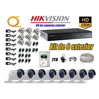 Cámaras de Seguridad Exterior Kit 8 HD 720P + Disco 2TB WD CCTV