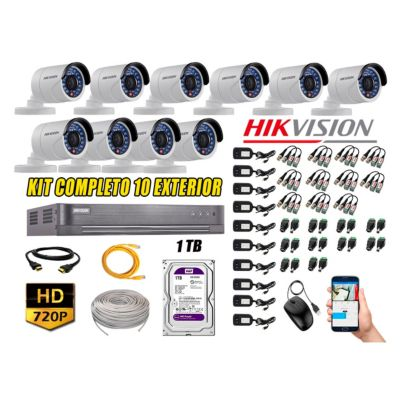 Cámaras de Seguridad Exterior Kit 10 HD 720P + Disco 1TB WD CCTV P2P