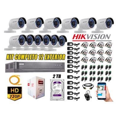 Cámaras de Seguridad Exterior Kit 12 HD 720P + Disco 2TB WD CCTV