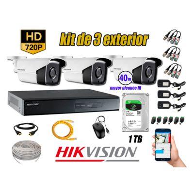 Cámaras de Seguridad Exterior It3F Kit 3 HD 720P + Disco 1TB WD CCTV