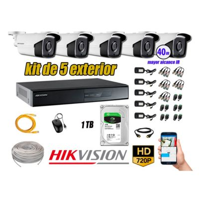 Cámaras de Seguridad Exterior It3F Kit 5 HD 720P + Disco 1TB WD CCTV
