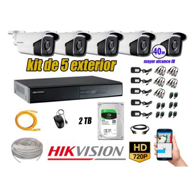 Cámaras de Seguridad Exterior It3F Kit 5 HD 720P + Disco 2TB WD CCTV P2P
