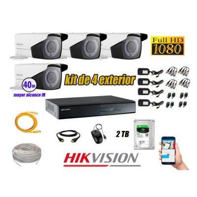 Cámaras de Seguridad Exterior Varifocal Kit 4 Full HD 1080P + Disco 2TB WD CCTV P2P KIT04-FHD-VF-F053
