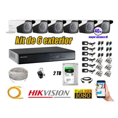 Cámaras de Seguridad Exterior Varifocal Kit 6 Full HD 1080P + Disco 2TB WD CCTV P2P