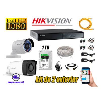 Cámaras de Seguridad Exterior It3F Kit 2 Full HD 1080P + Disco 1TB WD CCTV P2P