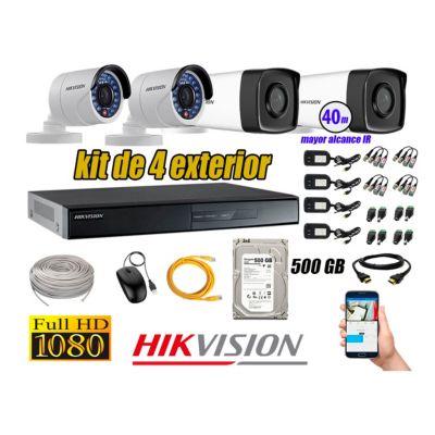 Cámaras de Seguridad Exterior It3F Kit 4 Full HD 1080P + Disco 500GB KIT04-FHD-I2-F074
