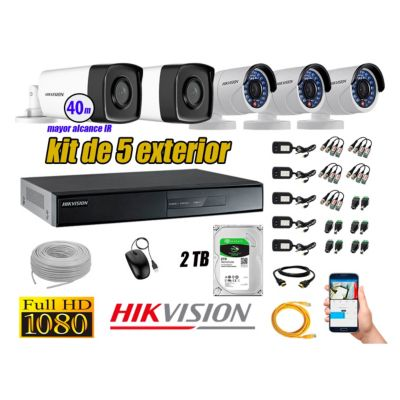 Cámaras de Seguridad Exterior It3F Kit 5 Full HD 1080P + Disco 2TB WD CCTV KIT05-FHD-I2-F078