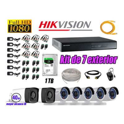 Cámaras de Seguridad Exterior It3F Kit 7 Full HD 1080P + Disco 1TB WD CCTV P2P KIT07-FHD-I2-F081