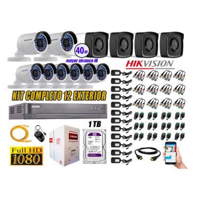 Cámaras de Seguridad Exterior It3F Kit 12 Full HD 1080P + Disco 1TB WD CCTV P2P KIT12-FHD-I2-F087