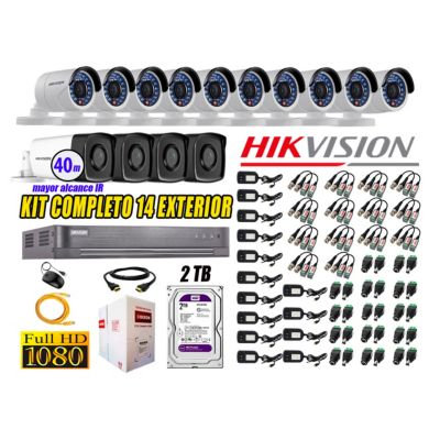 Cámaras de Seguridad Exterior It3F Kit 14 Full HD 1080P + Disco 2TB WD CCTV KIT14-FHD-I2-F090