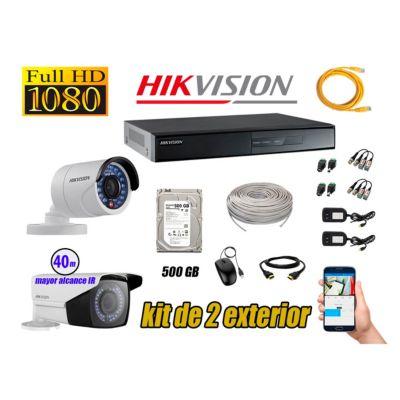 Cámaras de Seguridad Exterior Varifocal Kit 2 Full HD 1080P + Disco 500GB P2P KIT02-FHD-V2-F093