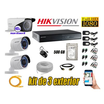 Cámaras de Seguridad Exterior Varifocal Kit 3 Full HD 1080P + Disco 500GB P2P KIT03-FHD-V2-F095