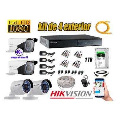 Cámaras de Seguridad Exterior Varifocal Kit 4 Full HD 1080P + Disco 1TB WD CCTV KIT04-FHD-V2-F098