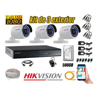 Cámaras de Seguridad Exterior Kit 3 Full HD 1080P + Disco 500GB P2P