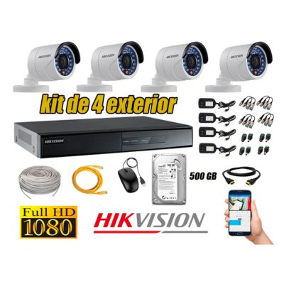 Cámaras de Seguridad Exterior Kit 4 Full HD 1080P + Disco 500GB P2P