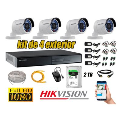 Cámaras de Seguridad Exterior Kit 4 Full HD 1080P + Disco 2TB WD CCTV P2P