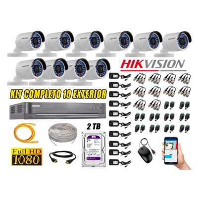 Cámaras de Seguridad Exterior Kit 10 Full HD 1080P + Disco 2TB WD CCTV P2P