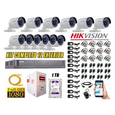 Cámaras de Seguridad Exterior Kit 12 Full HD 1080P + Disco 1TB WD CCTV