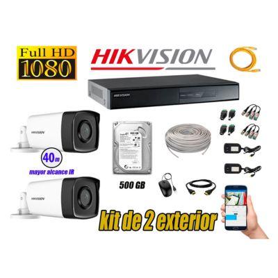 Cámaras de Seguridad Exterior It3F Kit 2 Full HD 1080P + Disco 500GB P2P