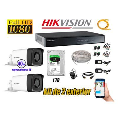 Cámaras de Seguridad Exterior It3F Kit 2 Full HD 1080P + Disco 1TB WD CCTV