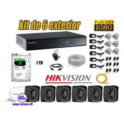 Cámaras de Seguridad Exterior It3F Kit 6 Full HD 1080P + Disco 1TB WD CCTV P2P