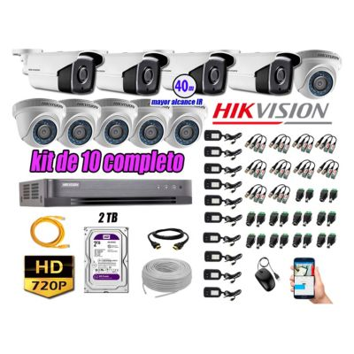 Cámaras Seguridad Kit 10 HD 720P 2TB + Cámara Exterior Mayor Alcance IT3F KIT10-HD-D103