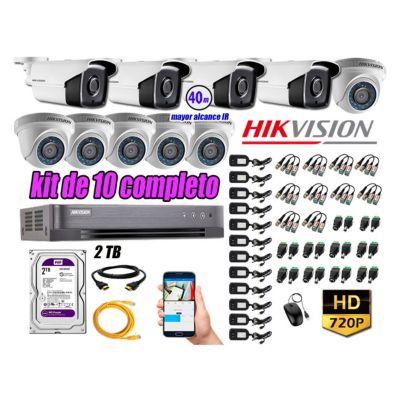 Cámaras Seguridad Kit 10 HD 720P 2TB + Cámara Exterior Mayor Alcance IT3F KIT10-HD-D104