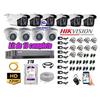Cámaras Seguridad Kit 10 HD 720P 2TB + Cámara Exterior Mayor Alcance IT3F KIT10-HD-D111