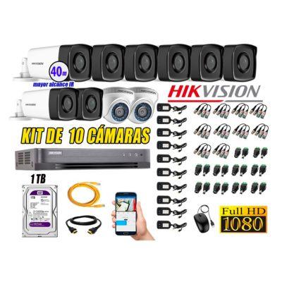 Cámaras Seguridad Kit 10 Full HD 1080P 1TB + Cámara Exterior Mayor Alcance IT3F P2P