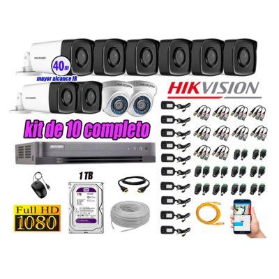 Cámaras Seguridad Kit 10 Full HD 1080P 1TB + Cámara Exterior Mayor Alcance IT3F