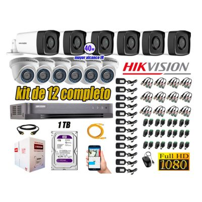 Cámaras Seguridad Kit 12 Full HD 1080P 1TB + Cámara Exterior Mayor Alcance IT3F P2P