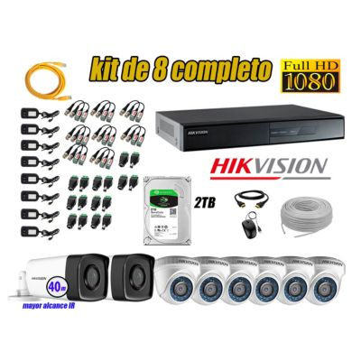 Cámaras Seguridad Kit 8 Full HD 1080P 2TB + Cámara Exterior Mayor Alcance IT3F KIT08-FHD-D074