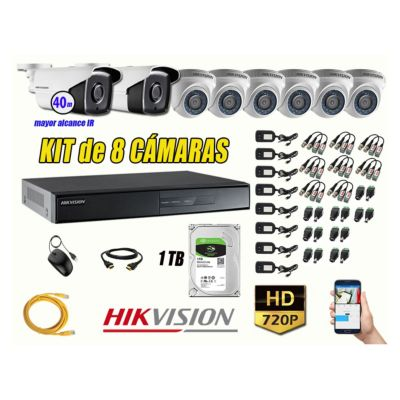 Cámaras Seguridad Kit 8 HD 720P 1TB + Cámara Exterior Mayor Alcance IT3F KIT08-HD-D077