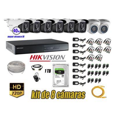 Cámaras Seguridad Kit 8 HD 720P 1TB + Cámara Exterior Mayor Alcance IT3F