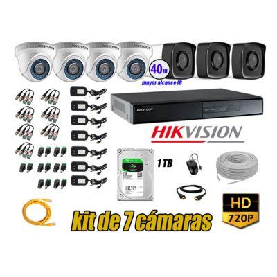 Cámaras Seguridad Kit 7 HD 720P 1TB + Cámara Exterior Mayor Alcance IT3F KIT07-HD-D062