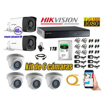 Cámaras Seguridad Kit 6 Full HD 1080P 1TB + Cámara Exterior Mayor Alcance IT3F KIT06-FHD-D033