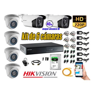 Cámaras Seguridad Kit 6 HD 720P 1TB + Cámara Exterior Mayor Alcance IT3F KIT06-HD-D038